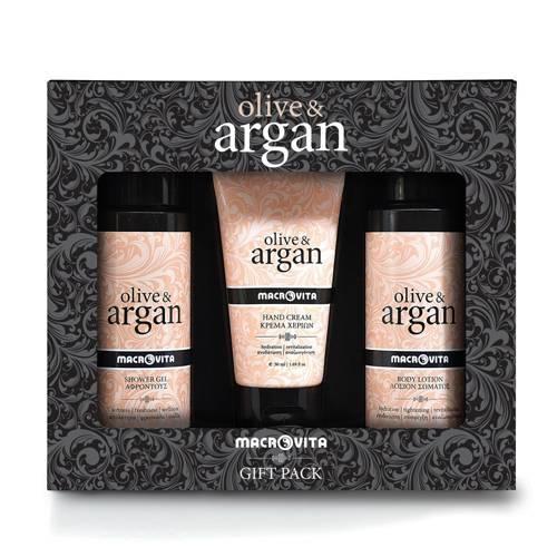 MACROVITA OLIVE & ARGAN SET: shower gel 100ml + body lotion 100ml + FREE hand cream 50ml