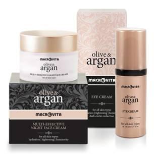 MACROVITA OLIVE & ARGAN GESCHENK-SET: Gesichtscreme für die Nacht 50ml + Augencreme 30ml