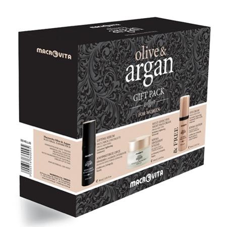 MACROVITA OLIVE&ARGAN SET: Creme für die Nacht für alle Hauttypen 50ml + Lifting Serum für Gesicht, Hals und Dekolleté 30ml + FREI Augencreme 30ml