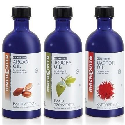 MACROVITA SET: ARGANÖL 100ml + BIO-JOJOBAÖL 100ml + RIZINUSÖL 100ml in natürlichen Ölen with vitamin E